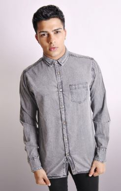 Grey Snow Wash Denim Shirt